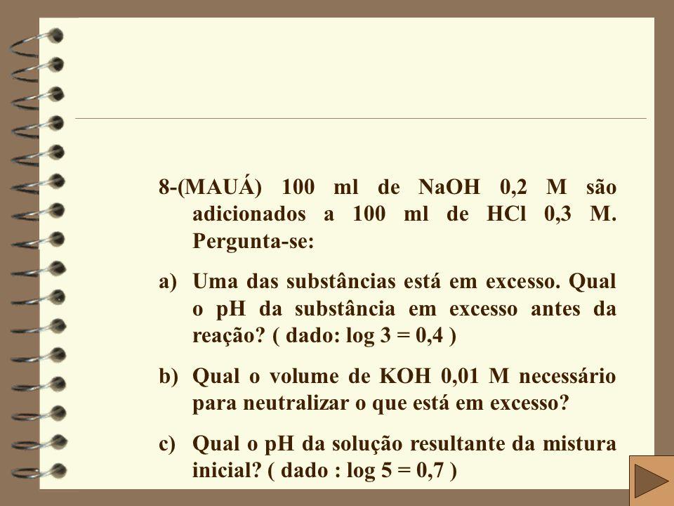 8-(MAUÁ) 100 ml de NaOH 0,2 M são adicionados a 100 ml de HCl 0,3 M