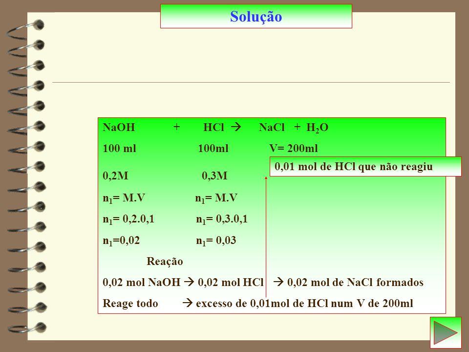 Solução NaOH + HCl  NaCl + H2O 100 ml 100ml V= 200ml 0,2M 0,3M