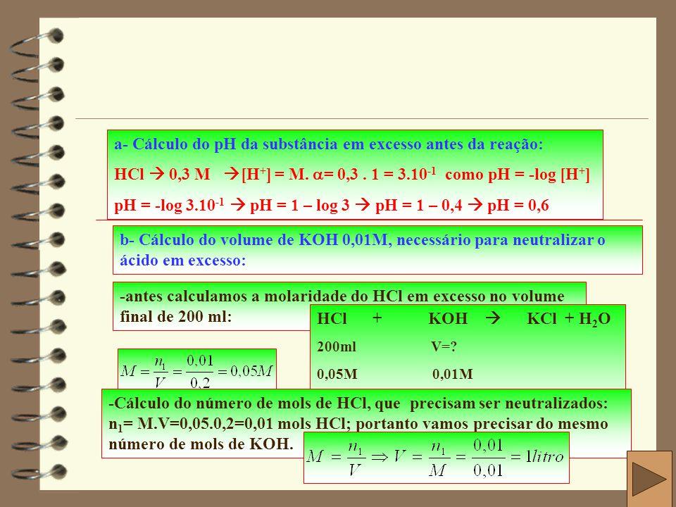 a- Cálculo do pH da substância em excesso antes da reação: