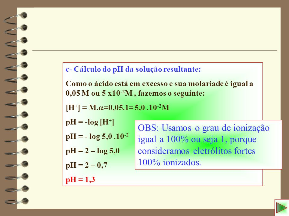 c- Cálculo do pH da solução resultante: