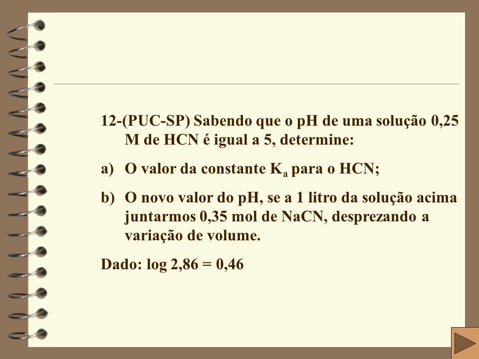 12-(PUC-SP) Sabendo que o pH de uma solução 0,25 M de HCN é igual a 5, determine: