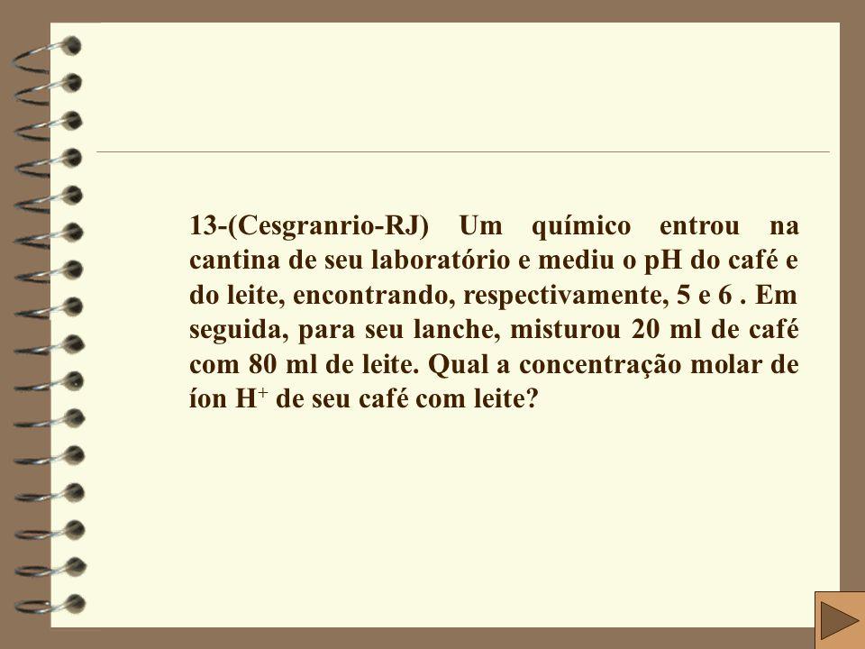 13-(Cesgranrio-RJ) Um químico entrou na cantina de seu laboratório e mediu o pH do café e do leite, encontrando, respectivamente, 5 e 6 .