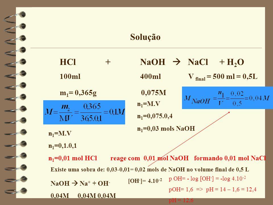 Solução HCl + NaOH  NaCl + H2O 100ml 400ml V final = 500 ml = 0,5L