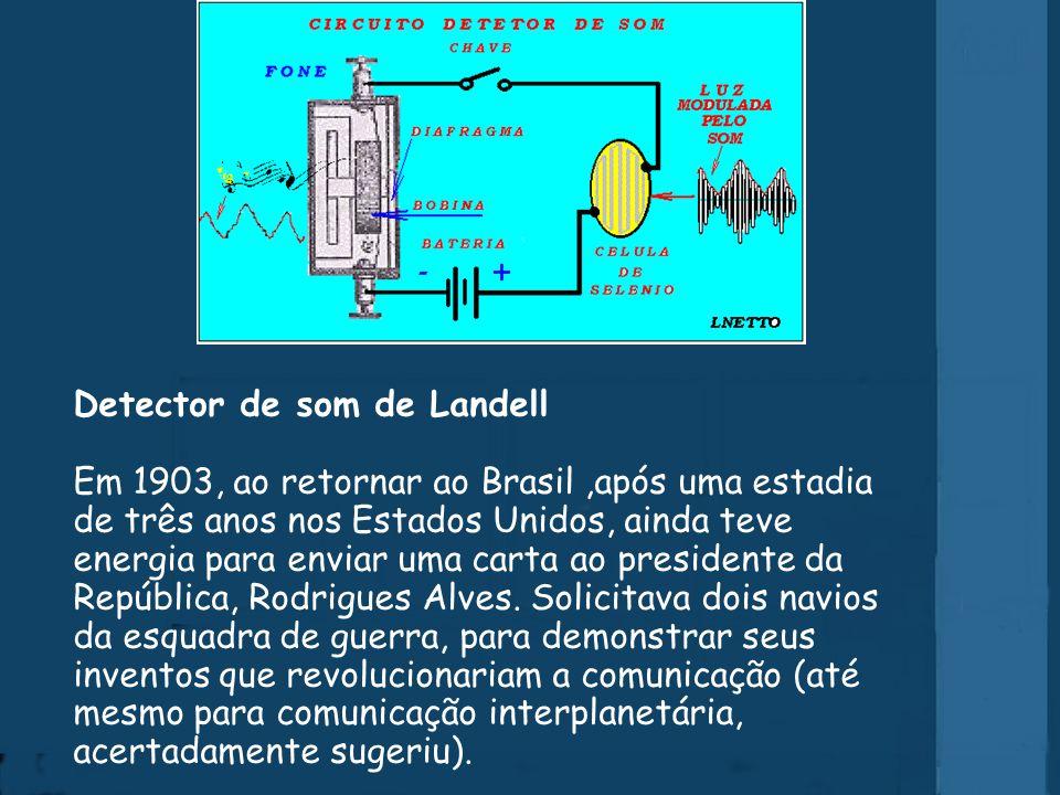 Detector de som de Landell Em 1903, ao retornar ao Brasil ,após uma estadia de três anos nos Estados Unidos, ainda teve energia para enviar uma carta ao presidente da República, Rodrigues Alves.
