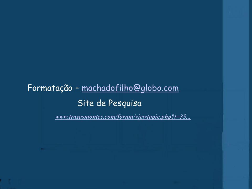 Formatação – machadofilho@globo.com Site de Pesquisa
