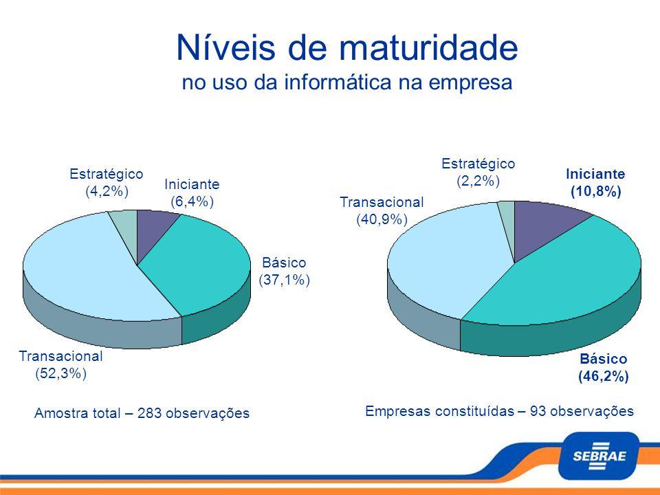 Níveis de maturidade no uso da informática na empresa Básico (46,2%)