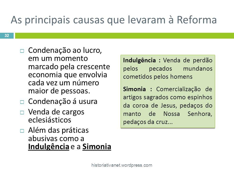 As principais causas que levaram à Reforma
