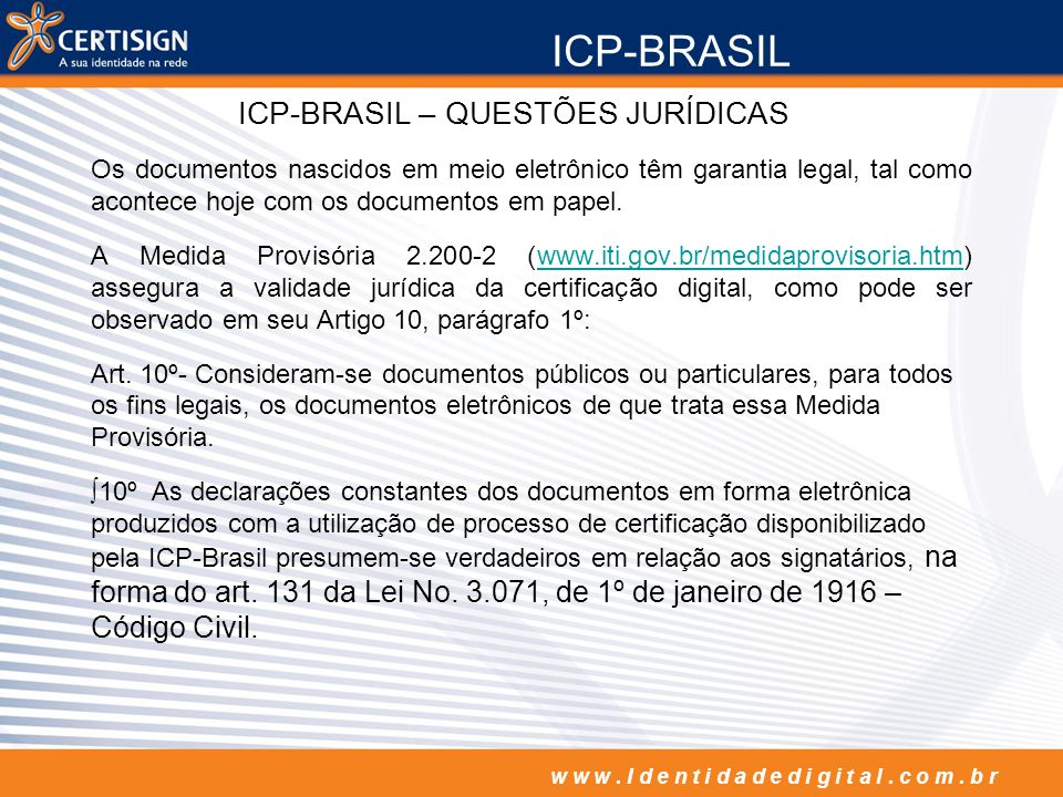 ICP-BRASIL – QUESTÕES JURÍDICAS