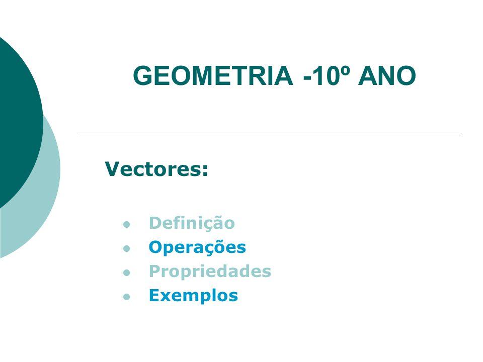 Vectores: Definição Operações Propriedades Exemplos