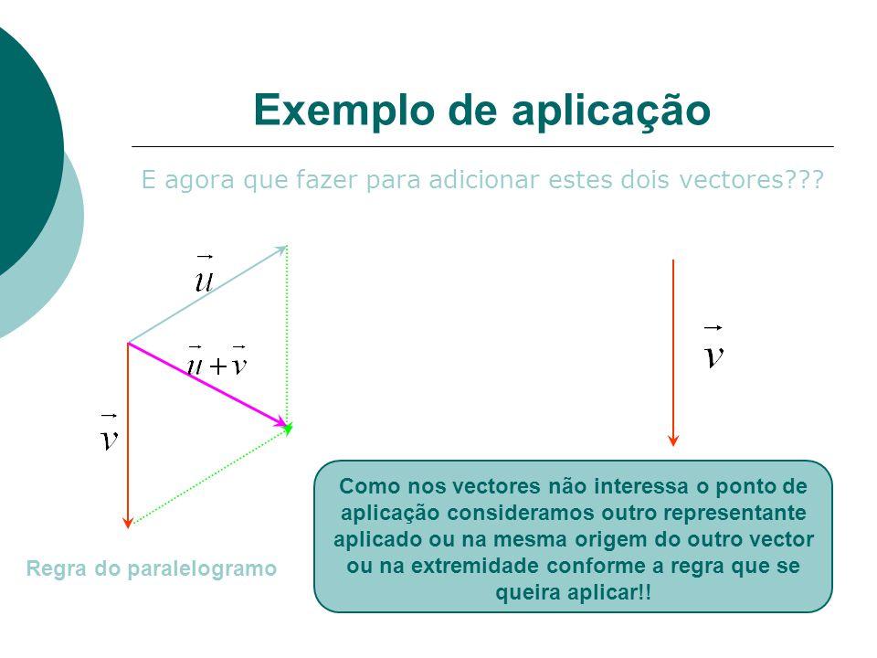 Exemplo de aplicação E agora que fazer para adicionar estes dois vectores