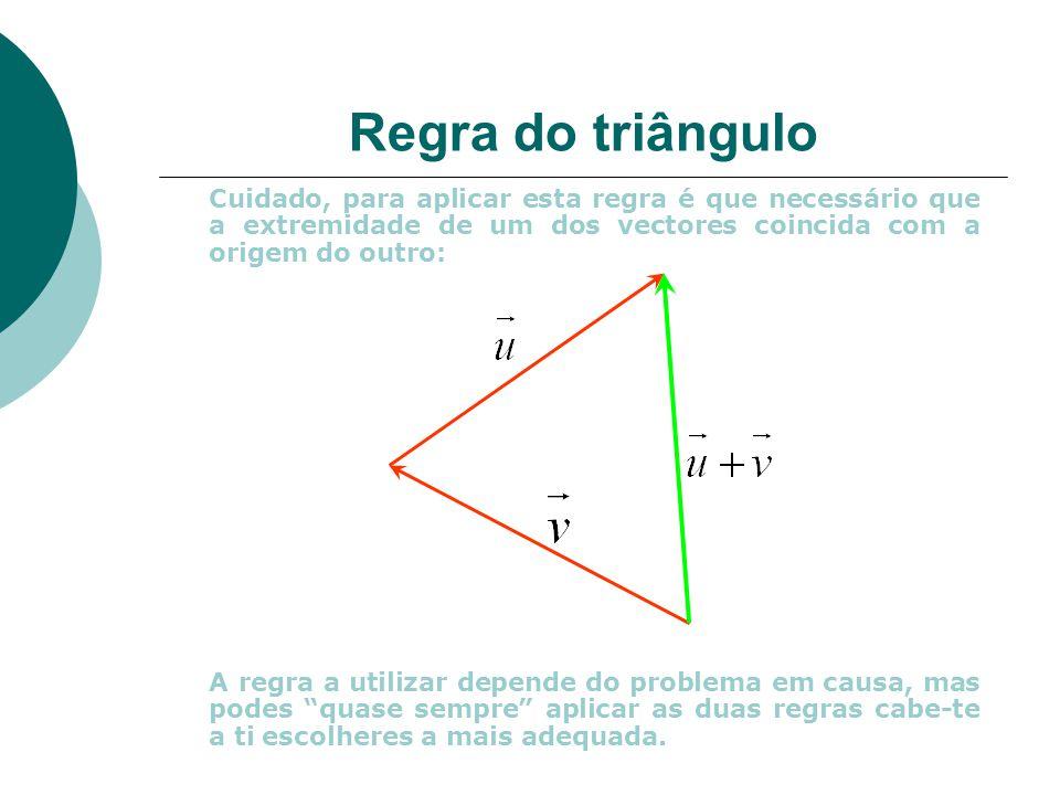Regra do triângulo Cuidado, para aplicar esta regra é que necessário que a extremidade de um dos vectores coincida com a origem do outro: