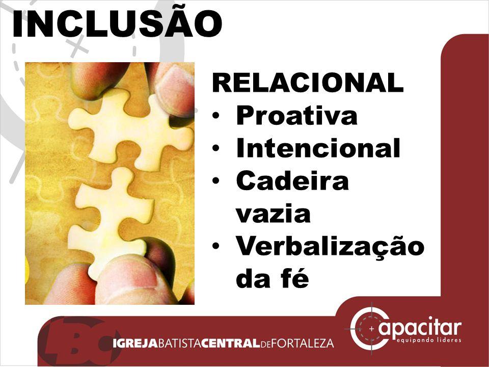 INCLUSÃO RELACIONAL Proativa Intencional Cadeira vazia