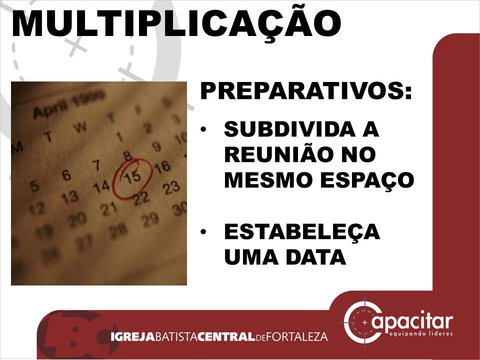 MULTIPLICAÇÃO PREPARATIVOS: SUBDIVIDA A REUNIÃO NO MESMO ESPAÇO