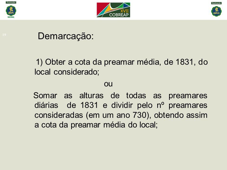 Demarcação: 1) Obter a cota da preamar média, de 1831, do local considerado; ou.