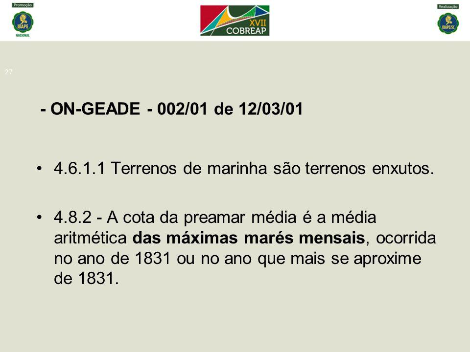 - ON-GEADE - 002/01 de 12/03/01 4.6.1.1 Terrenos de marinha são terrenos enxutos.
