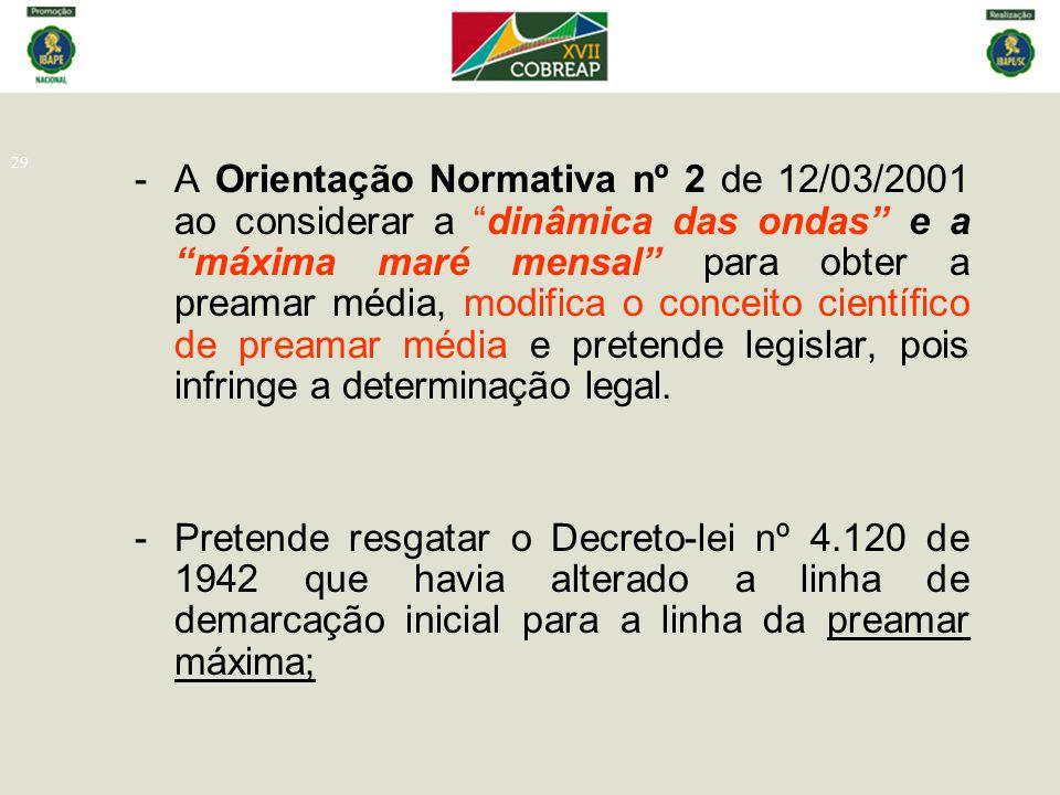 A Orientação Normativa nº 2 de 12/03/2001 ao considerar a dinâmica das ondas e a máxima maré mensal para obter a preamar média, modifica o conceito científico de preamar média e pretende legislar, pois infringe a determinação legal.
