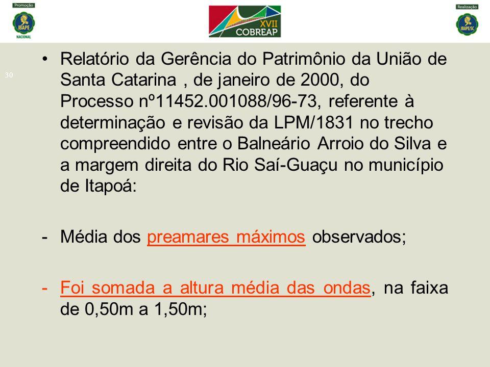 Relatório da Gerência do Patrimônio da União de Santa Catarina , de janeiro de 2000, do Processo nº11452.001088/96-73, referente à determinação e revisão da LPM/1831 no trecho compreendido entre o Balneário Arroio do Silva e a margem direita do Rio Saí-Guaçu no município de Itapoá: