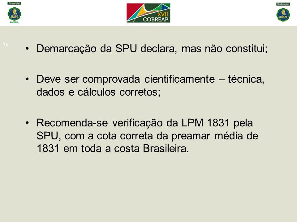 Demarcação da SPU declara, mas não constitui;