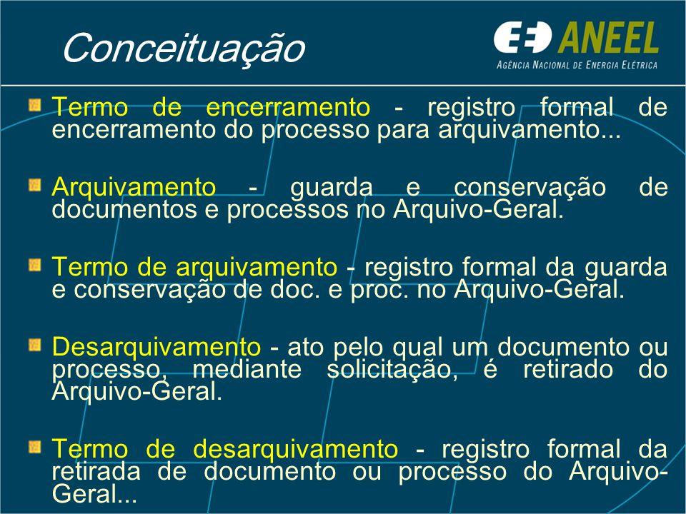 Conceituação Termo de encerramento - registro formal de encerramento do processo para arquivamento...