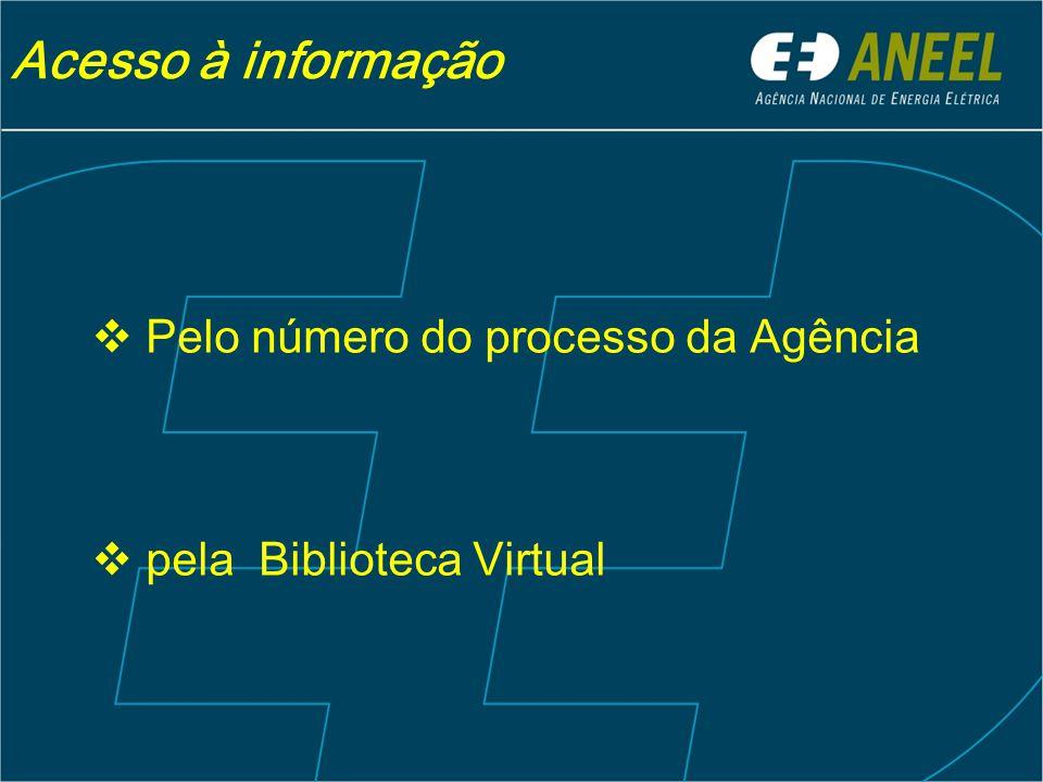 Acesso à informação Pelo número do processo da Agência