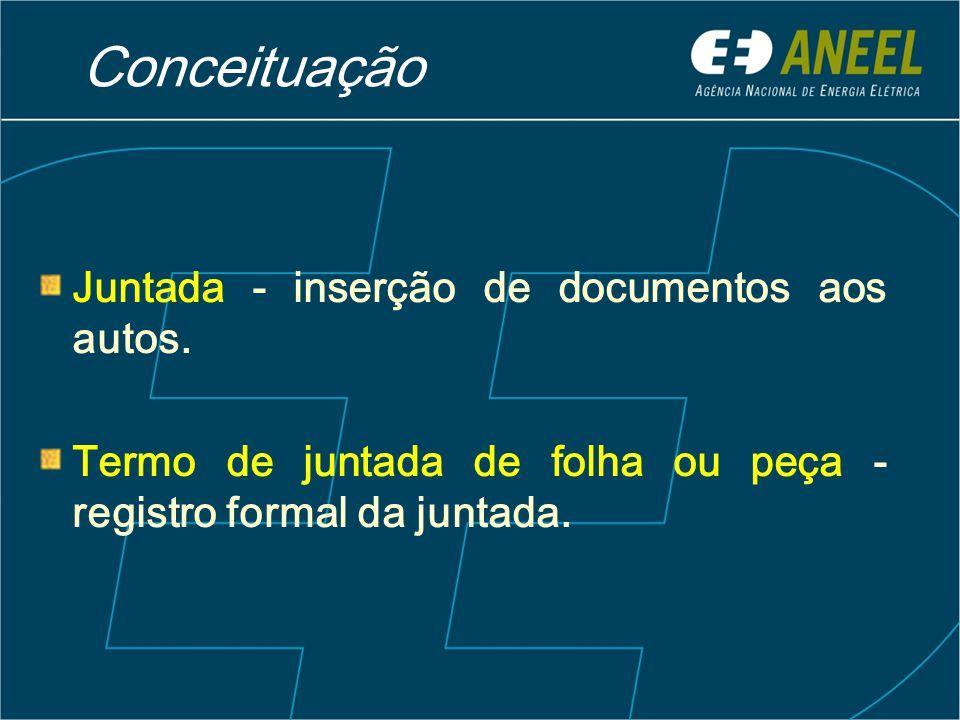 Conceituação Juntada - inserção de documentos aos autos.