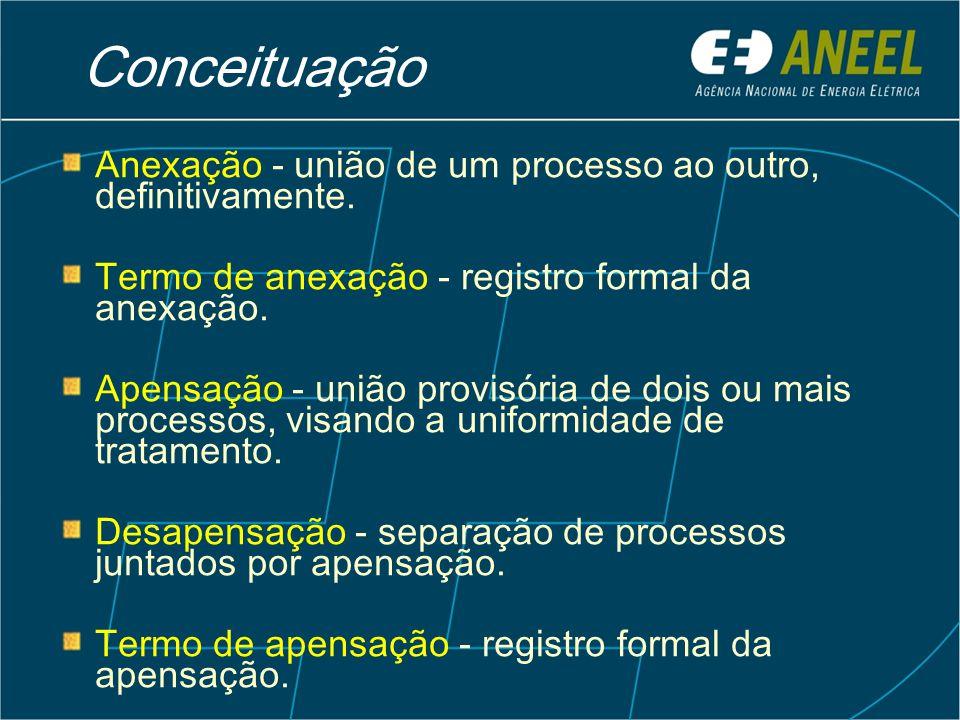 Conceituação Anexação - união de um processo ao outro, definitivamente. Termo de anexação - registro formal da anexação.