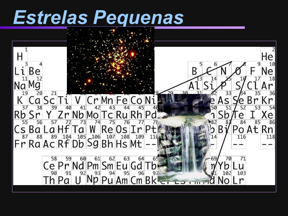 Estrelas Pequenas So where do we get the rest of these elements