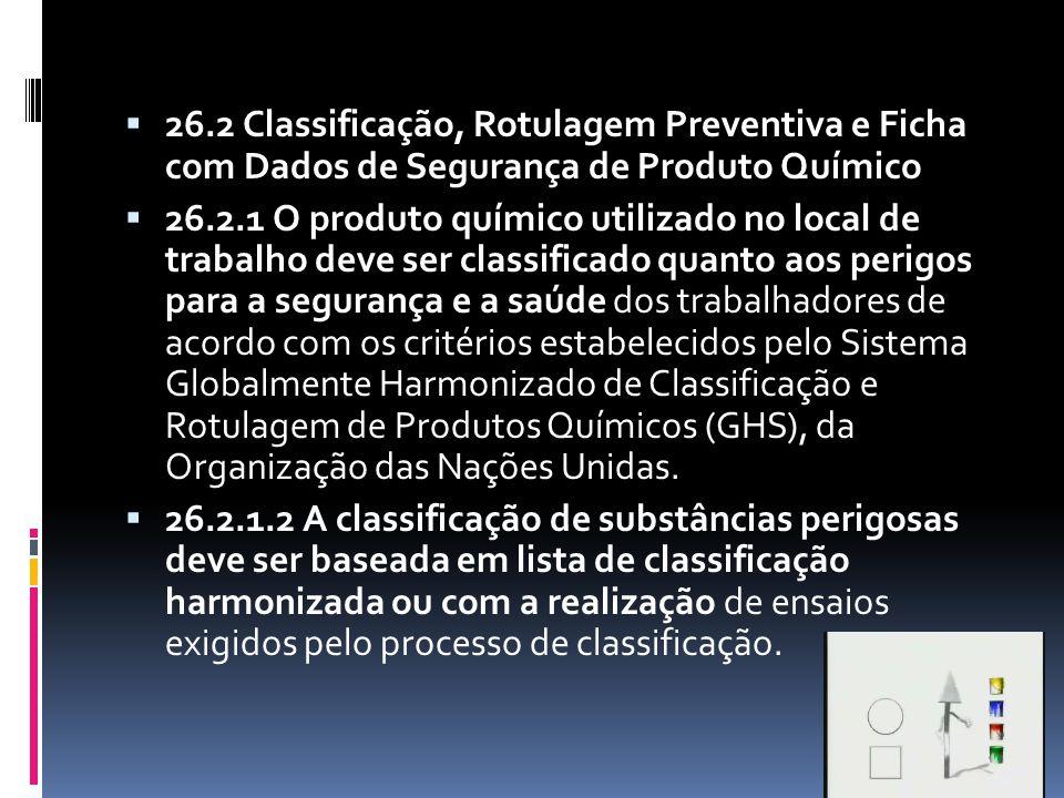 26.2 Classificação, Rotulagem Preventiva e Ficha com Dados de Segurança de Produto Químico
