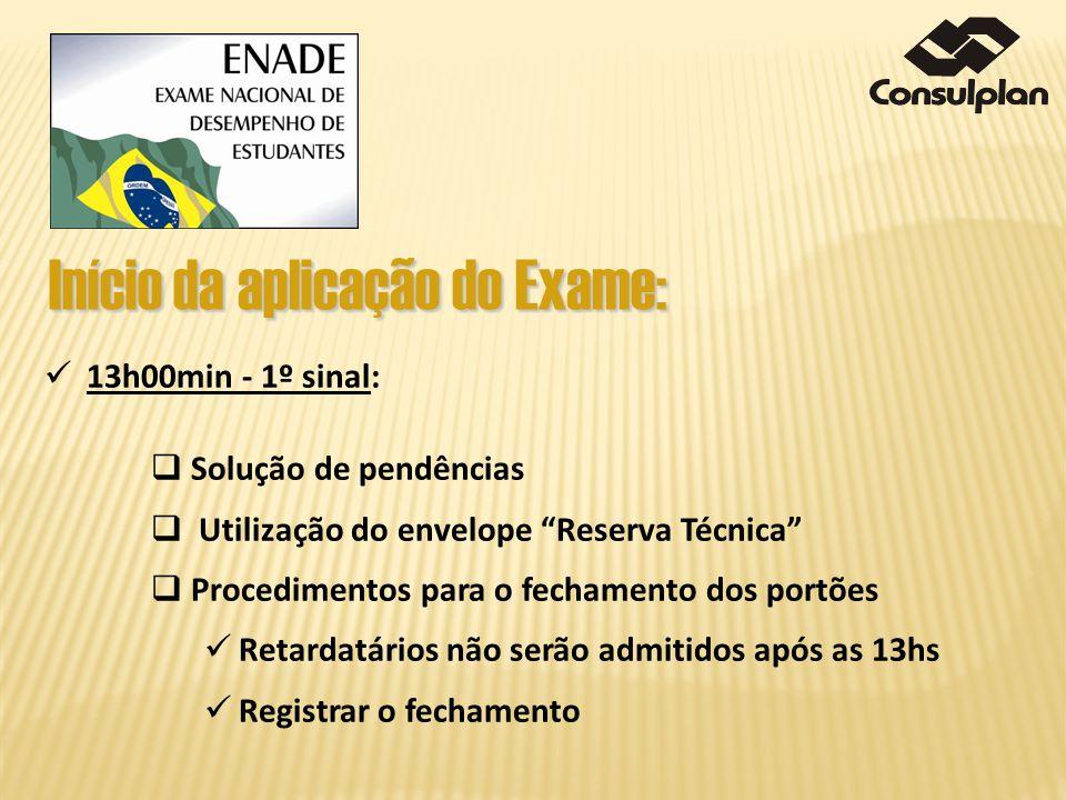 Início da aplicação do Exame: