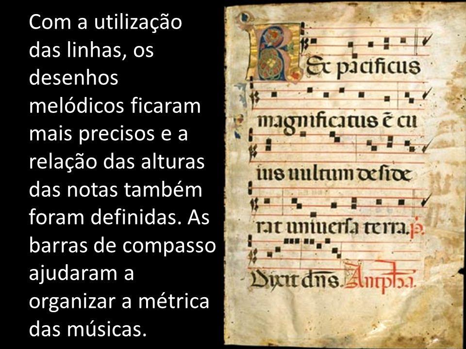 Com a utilização das linhas, os desenhos melódicos ficaram mais precisos e a relação das alturas das notas também foram definidas.
