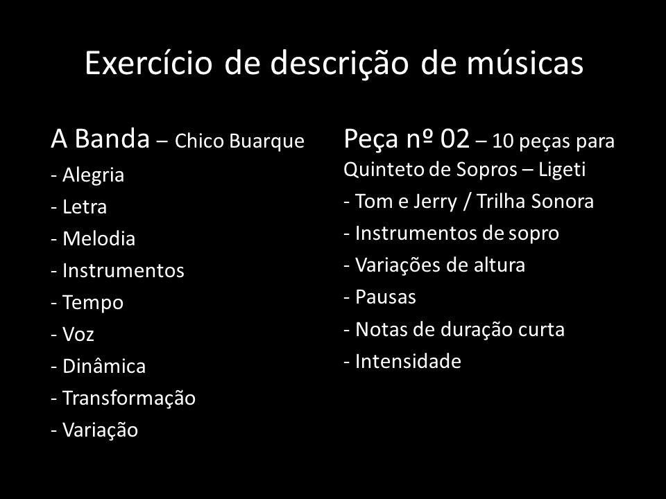 Exercício de descrição de músicas
