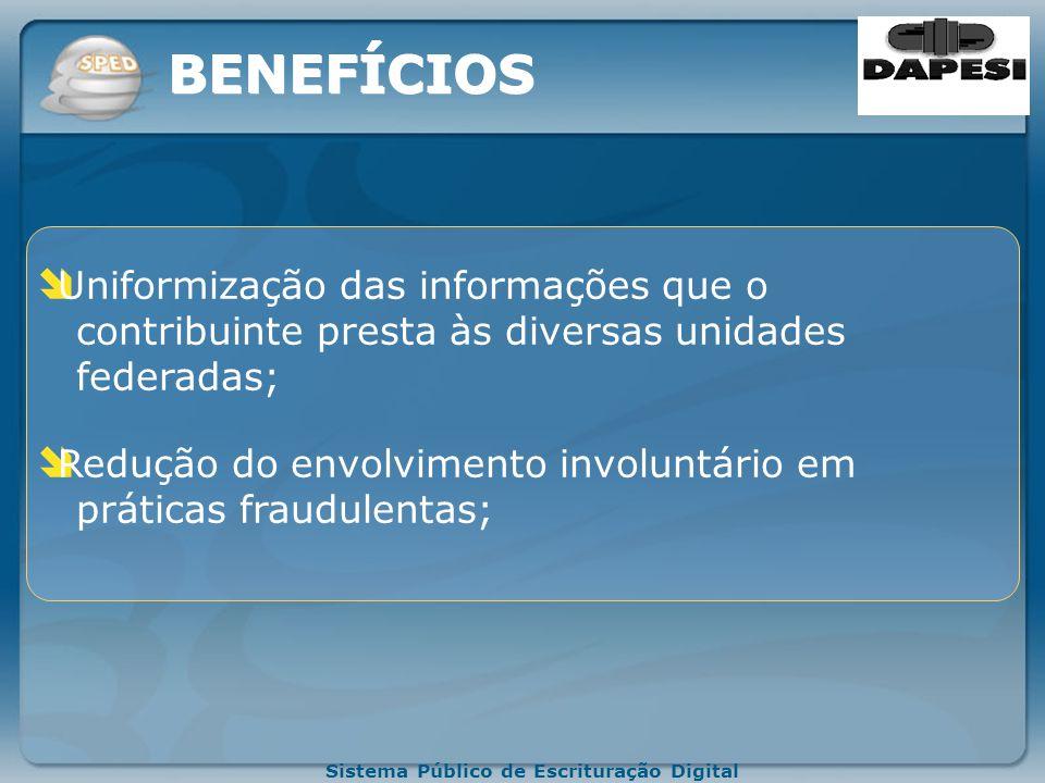 BENEFÍCIOS Uniformização das informações que o contribuinte presta às diversas unidades federadas;