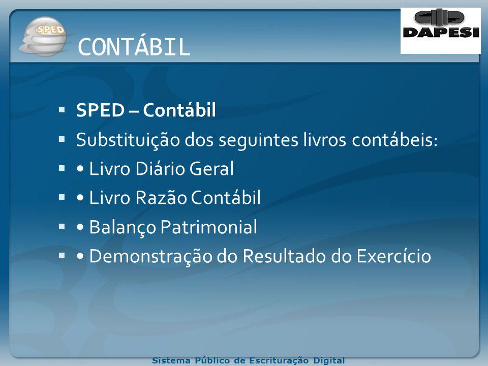 CONTÁBIL SPED – Contábil Substituição dos seguintes livros contábeis: