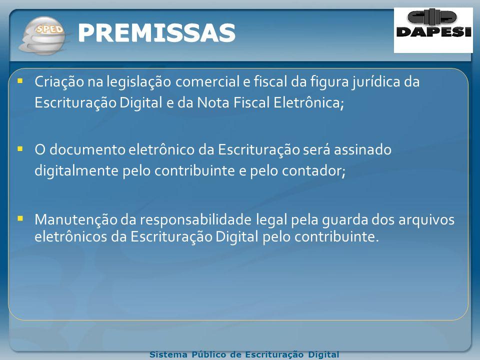PREMISSAS Criação na legislação comercial e fiscal da figura jurídica da Escrituração Digital e da Nota Fiscal Eletrônica;