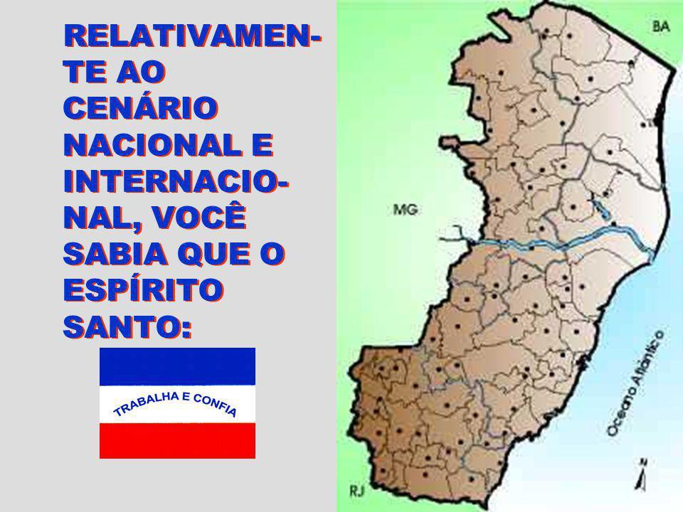 RELATIVAMEN-TE AO CENÁRIO NACIONAL E INTERNACIO-NAL, VOCÊ SABIA QUE O ESPÍRITO SANTO: