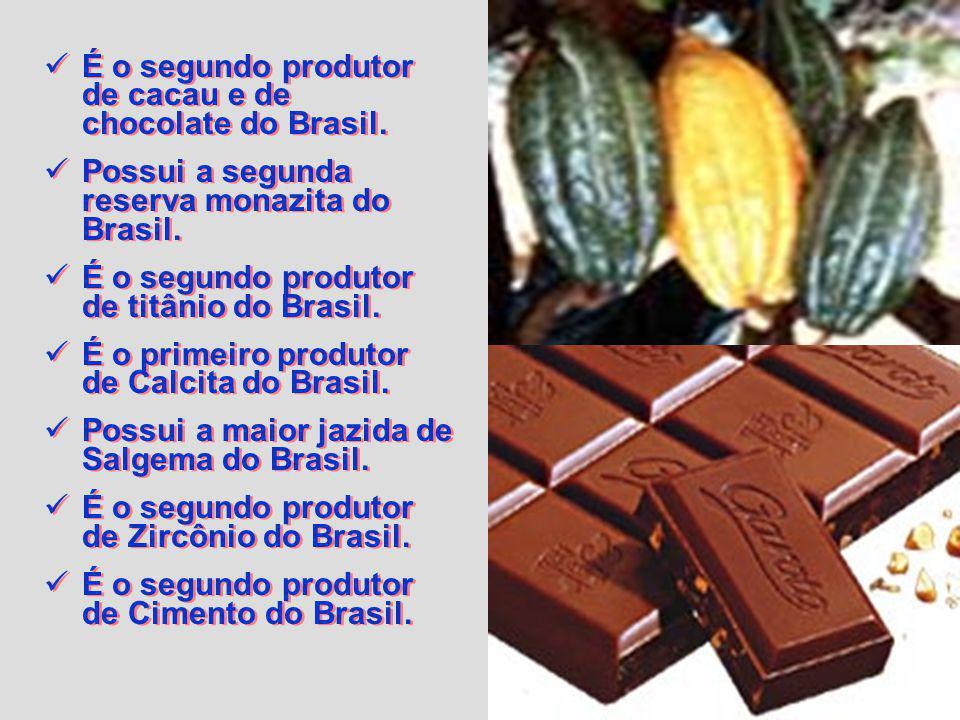 É o segundo produtor de cacau e de chocolate do Brasil.