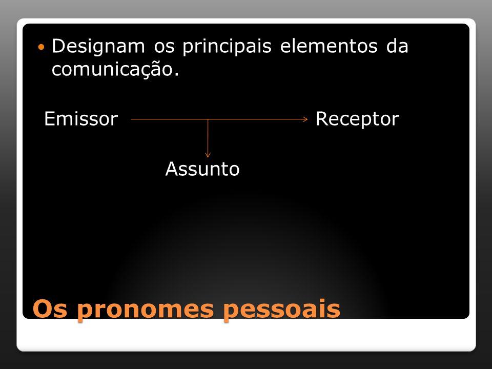 Os pronomes pessoais Designam os principais elementos da comunicação.