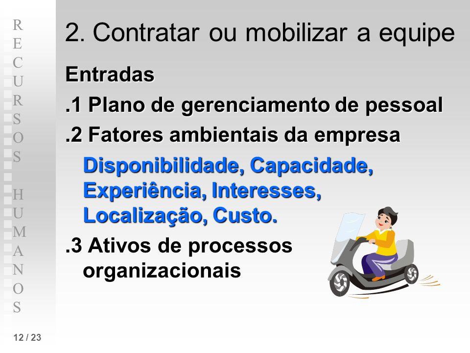 2. Contratar ou mobilizar a equipe