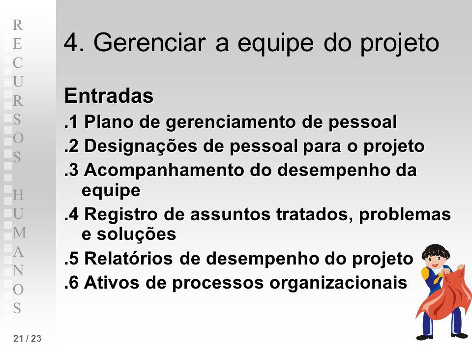 4. Gerenciar a equipe do projeto