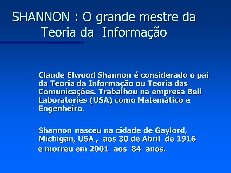SHANNON : O grande mestre da Teoria da Informação