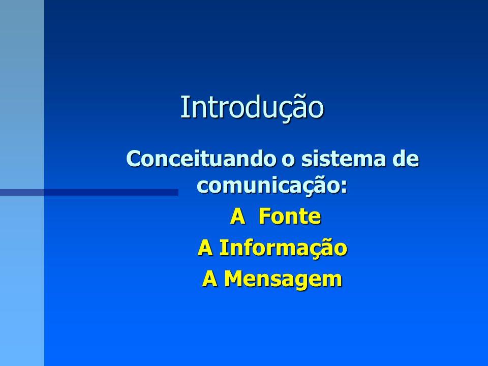 Conceituando o sistema de comunicação: A Fonte A Informação A Mensagem