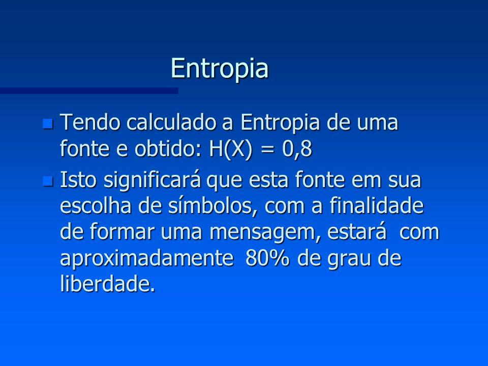 Entropia Tendo calculado a Entropia de uma fonte e obtido: H(X) = 0,8