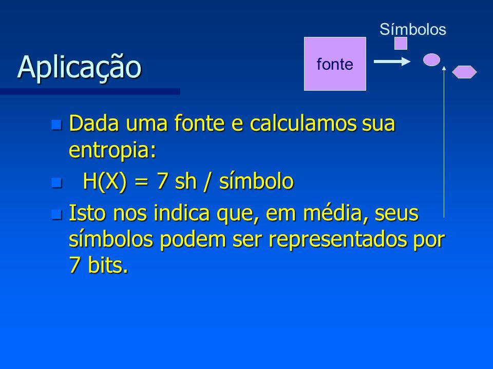 Aplicação Dada uma fonte e calculamos sua entropia: