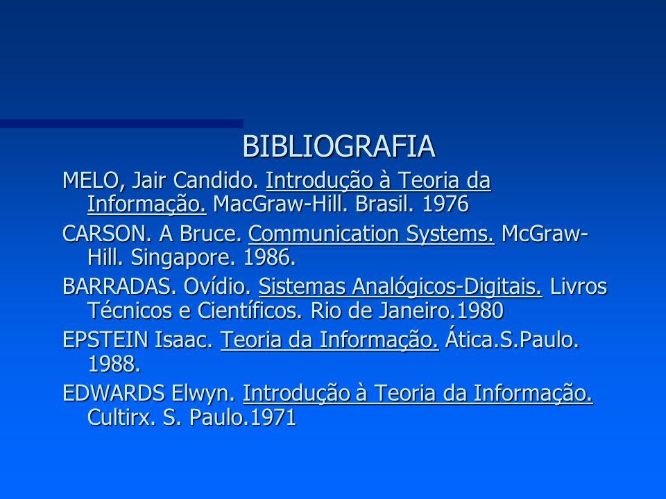 BIBLIOGRAFIA MELO, Jair Candido. Introdução à Teoria da Informação. MacGraw-Hill. Brasil. 1976.