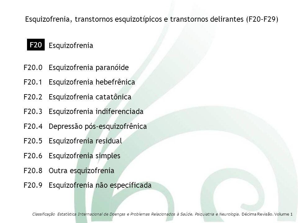 Esquizofrenia residual F20.5 Depressão pós-esquizofrênica F20.4