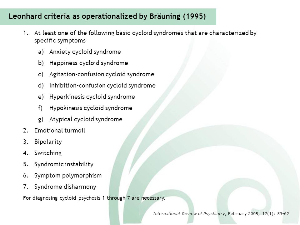 Leonhard criteria as operationalized by Bräuning (1995)