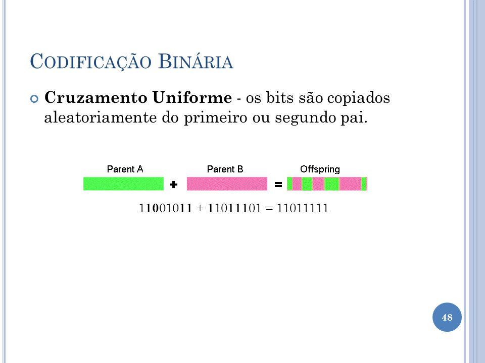 Codificação Binária Cruzamento Uniforme - os bits são copiados aleatoriamente do primeiro ou segundo pai.