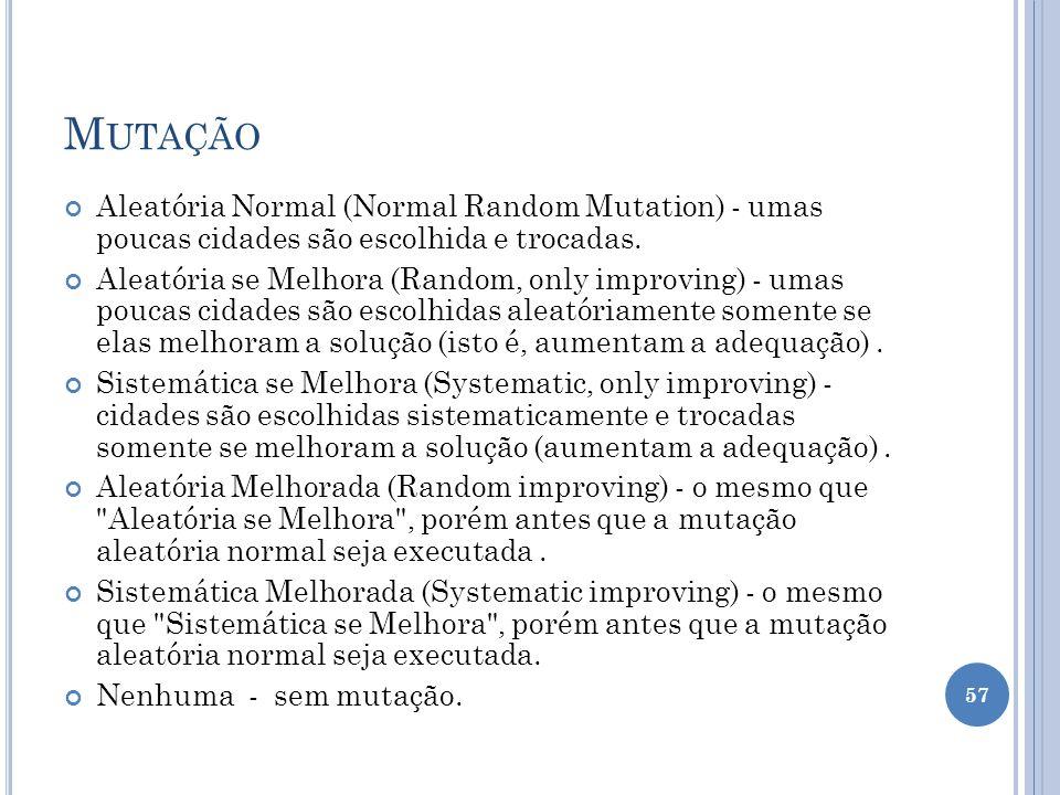 Mutação Aleatória Normal (Normal Random Mutation) - umas poucas cidades são escolhida e trocadas.