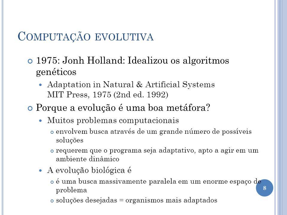 Computação evolutiva 1975: Jonh Holland: Idealizou os algoritmos genéticos.