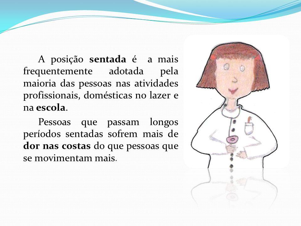 A posição sentada é a mais frequentemente adotada pela maioria das pessoas nas atividades profissionais, domésticas no lazer e na escola.